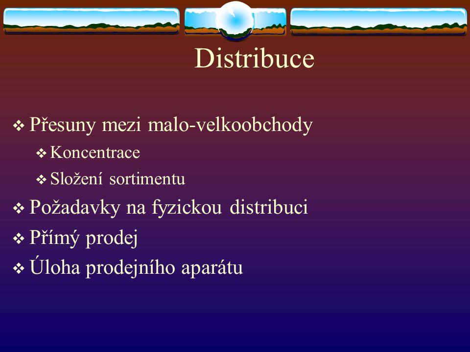 Distribuce  Přesuny mezi malo-velkoobchody  Koncentrace  Složení sortimentu  Požadavky na fyzickou distribuci  Přímý prodej  Úloha prodejního ap