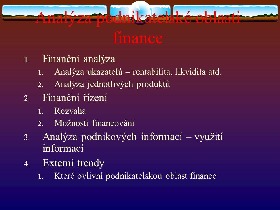 Analýza podnikatelské oblasti finance 1. Finanční analýza 1. Analýza ukazatelů – rentabilita, likvidita atd. 2. Analýza jednotlivých produktů 2. Finan