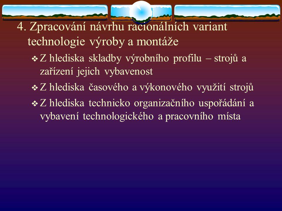 4. Zpracování návrhu racionálních variant technologie výroby a montáže  Z hlediska skladby výrobního profilu – strojů a zařízení jejich vybavenost 