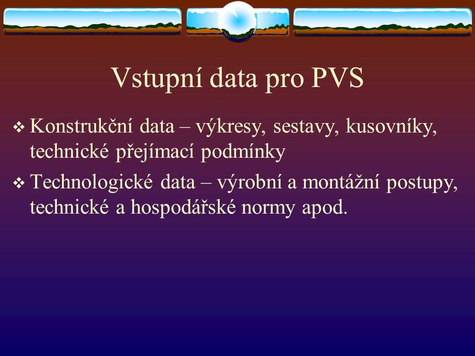 Vstupní data pro PVS  Konstrukční data – výkresy, sestavy, kusovníky, technické přejímací podmínky  Technologické data – výrobní a montážní postupy,