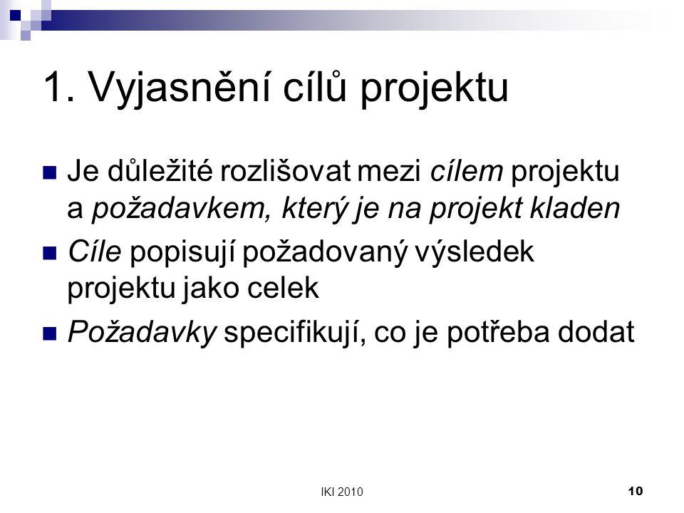 IKI 201010 1. Vyjasnění cílů projektu Je důležité rozlišovat mezi cílem projektu a požadavkem, který je na projekt kladen Cíle popisují požadovaný výs