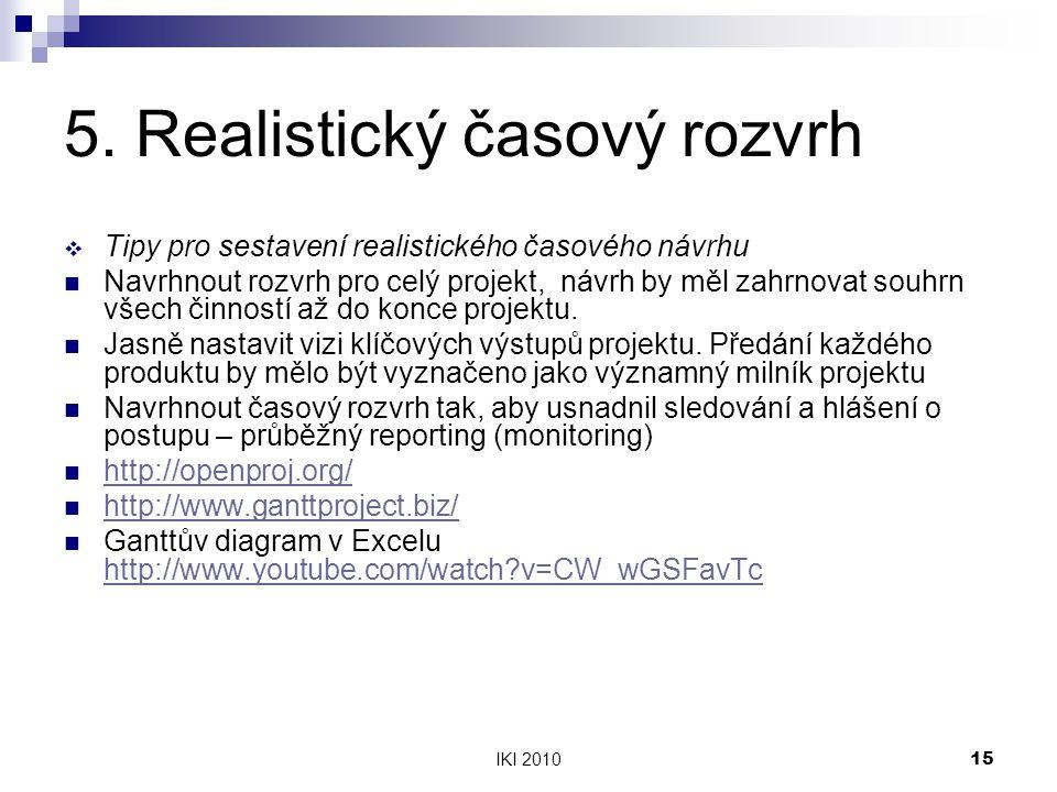 IKI 201015 5. Realistický časový rozvrh  Tipy pro sestavení realistického časového návrhu Navrhnout rozvrh pro celý projekt, návrh by měl zahrnovat s