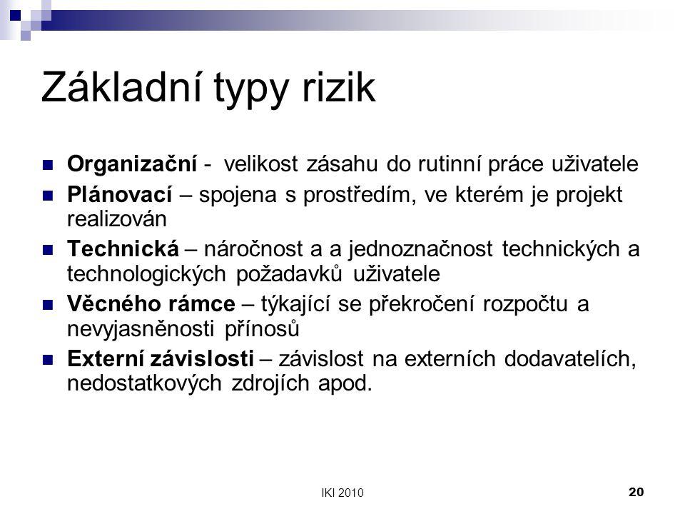 IKI 201020 Základní typy rizik Organizační - velikost zásahu do rutinní práce uživatele Plánovací – spojena s prostředím, ve kterém je projekt realizován Technická – náročnost a a jednoznačnost technických a technologických požadavků uživatele Věcného rámce – týkající se překročení rozpočtu a nevyjasněnosti přínosů Externí závislosti – závislost na externích dodavatelích, nedostatkových zdrojích apod.