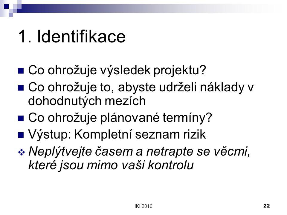 IKI 201022 1.Identifikace Co ohrožuje výsledek projektu.