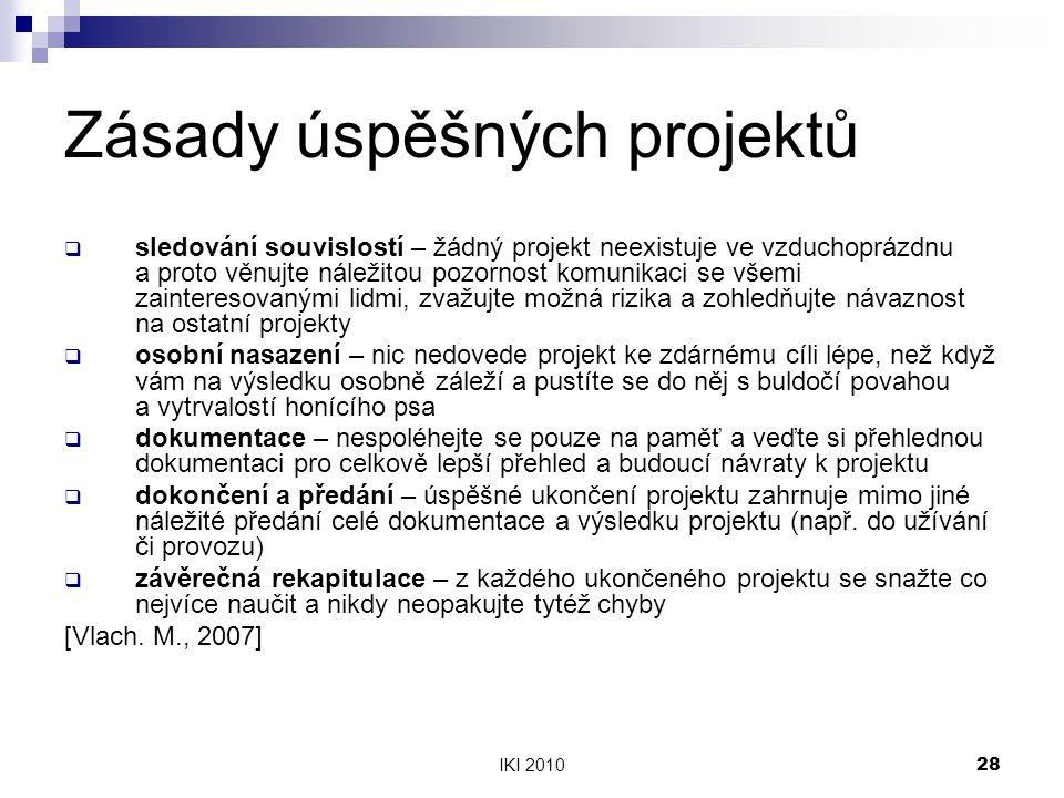 IKI 201028 Zásady úspěšných projektů  sledování souvislostí – žádný projekt neexistuje ve vzduchoprázdnu a proto věnujte náležitou pozornost komunika