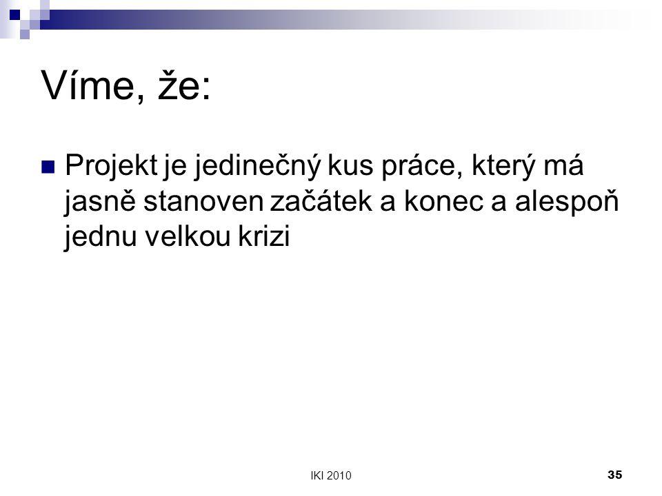 IKI 201035 Víme, že: Projekt je jedinečný kus práce, který má jasně stanoven začátek a konec a alespoň jednu velkou krizi
