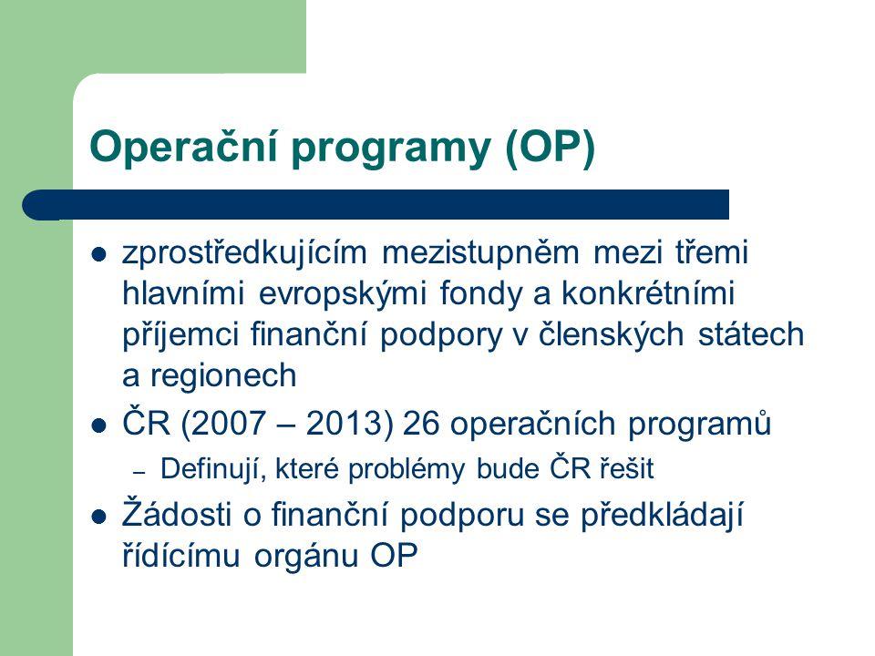 Operační programy (OP) zprostředkujícím mezistupněm mezi třemi hlavními evropskými fondy a konkrétními příjemci finanční podpory v členských státech a