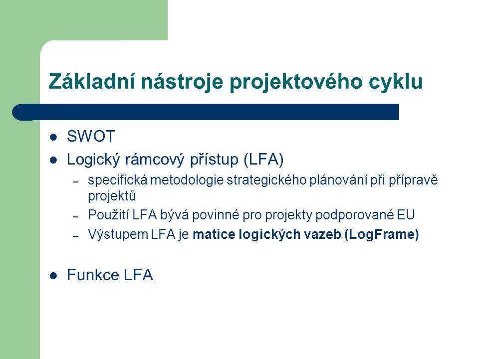 Základní nástroje projektového cyklu SWOT Logický rámcový přístup (LFA) – specifická metodologie strategického plánování při přípravě projektů – Použi