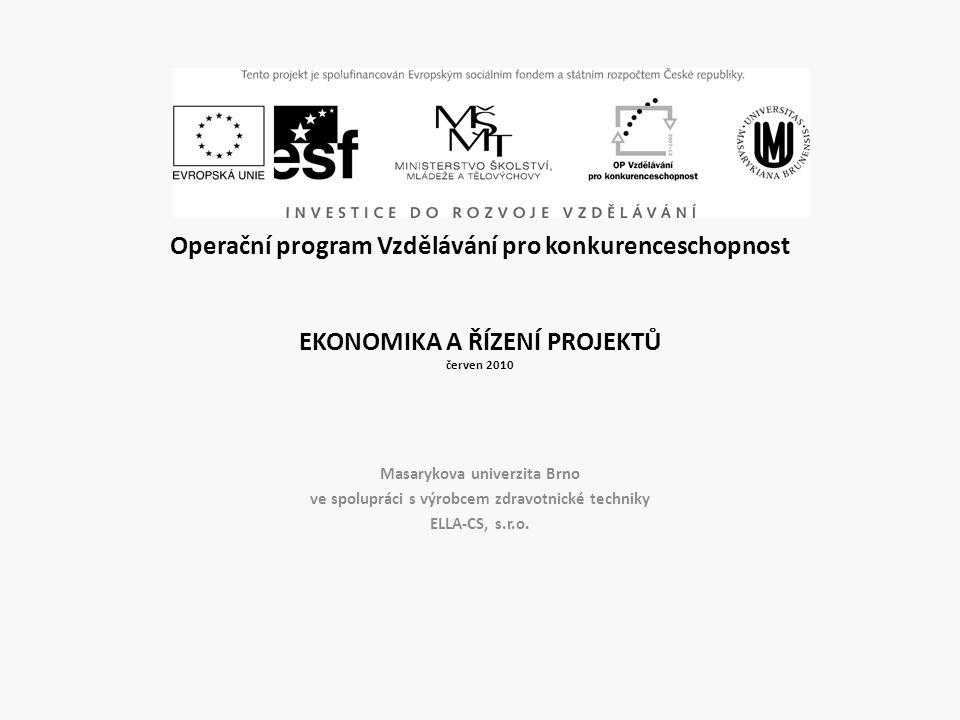 Operační program Vzdělávání pro konkurenceschopnost EKONOMIKA A ŘÍZENÍ PROJEKTŮ červen 2010 Masarykova univerzita Brno ve spolupráci s výrobcem zdravo