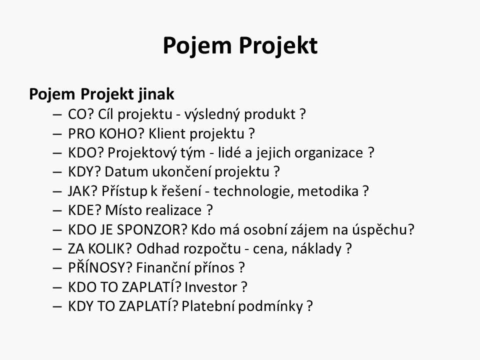 Pojem Projekt Pojem Projekt jinak – CO? Cíl projektu - výsledný produkt ? – PRO KOHO? Klient projektu ? – KDO? Projektový tým - lidé a jejich organiza
