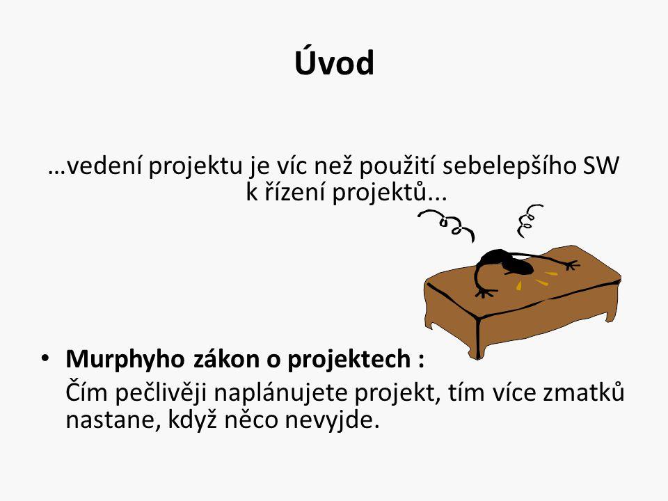 Úvod …vedení projektu je víc než použití sebelepšího SW k řízení projektů... Murphyho zákon o projektech : Čím pečlivěji naplánujete projekt, tím více