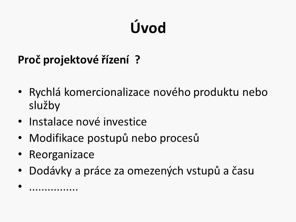 Úvod Proč projektové řízení ? Rychlá komercionalizace nového produktu nebo služby Instalace nové investice Modifikace postupů nebo procesů Reorganizac