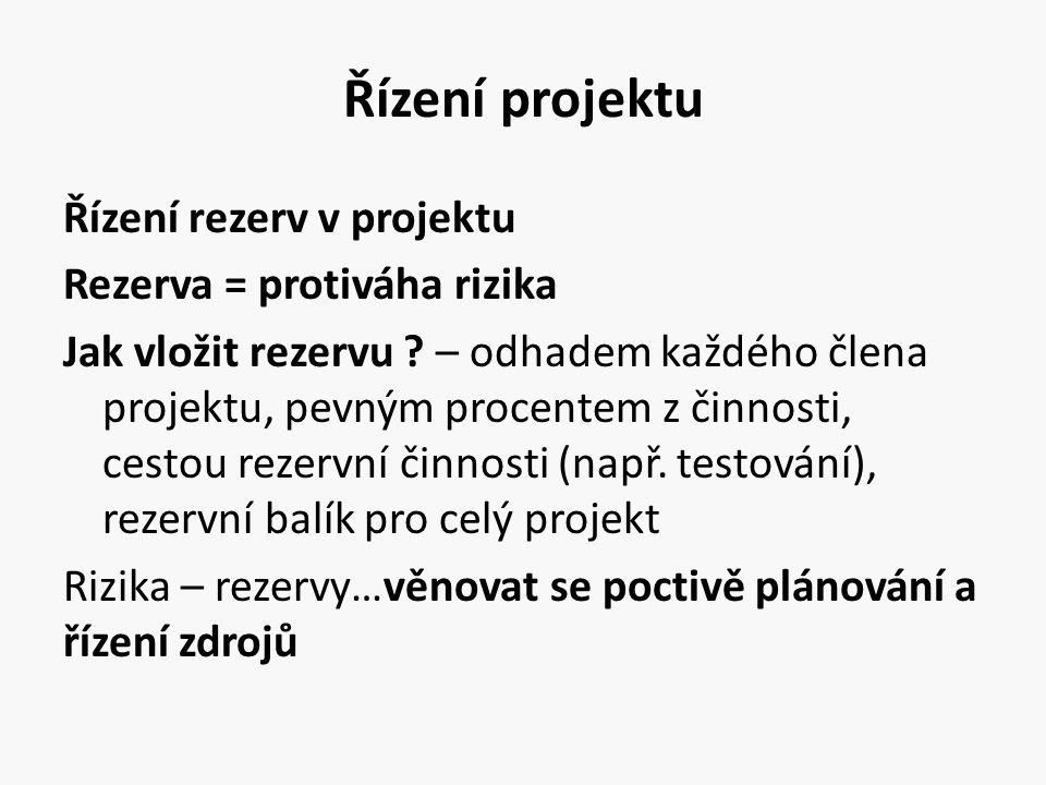 Řízení projektu Řízení rezerv v projektu Rezerva = protiváha rizika Jak vložit rezervu ? – odhadem každého člena projektu, pevným procentem z činnosti