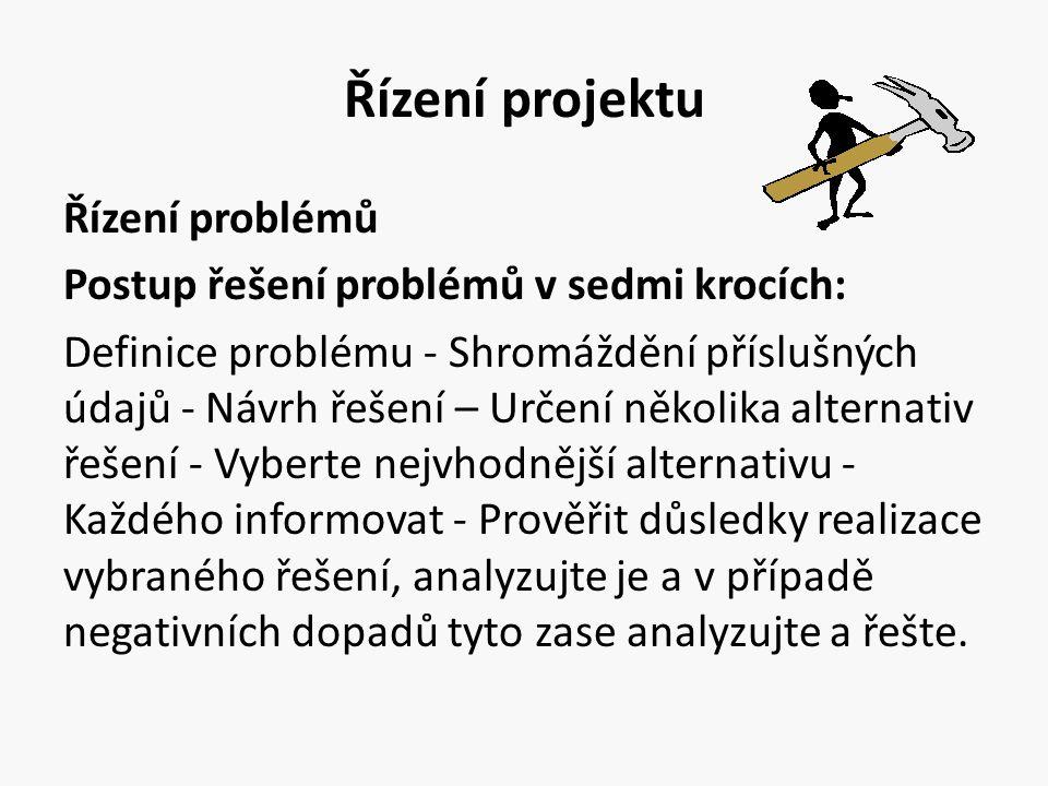 Řízení projektu Řízení problémů Postup řešení problémů v sedmi krocích: Definice problému - Shromáždění příslušných údajů - Návrh řešení – Určení něko