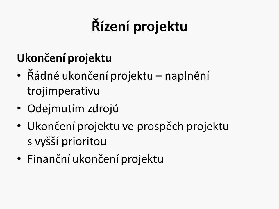 Řízení projektu Ukončení projektu Řádné ukončení projektu – naplnění trojimperativu Odejmutím zdrojů Ukončení projektu ve prospěch projektu s vyšší pr
