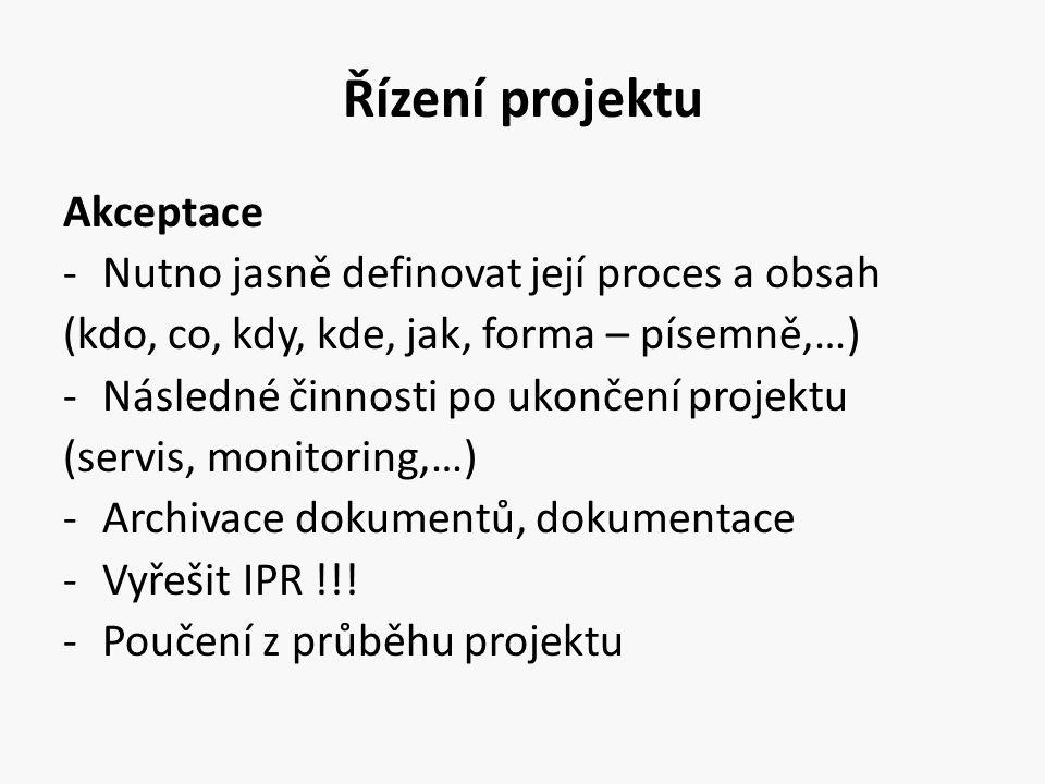 Řízení projektu Akceptace -Nutno jasně definovat její proces a obsah (kdo, co, kdy, kde, jak, forma – písemně,…) -Následné činnosti po ukončení projek