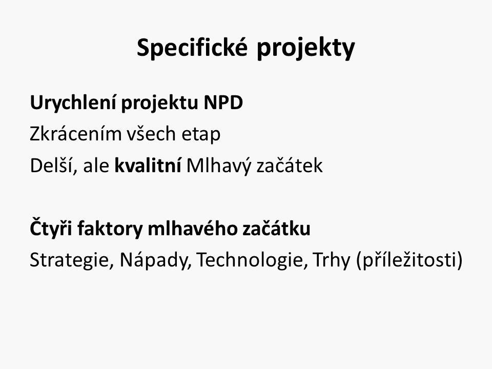 Specifické projekty Urychlení projektu NPD Zkrácením všech etap Delší, ale kvalitní Mlhavý začátek Čtyři faktory mlhavého začátku Strategie, Nápady, T