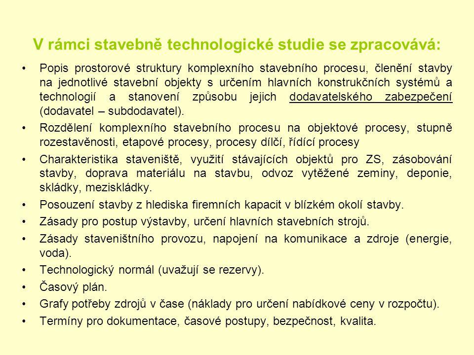 V rámci stavebně technologické studie se zpracovává: Popis prostorové struktury komplexního stavebního procesu, členění stavby na jednotlivé stavební