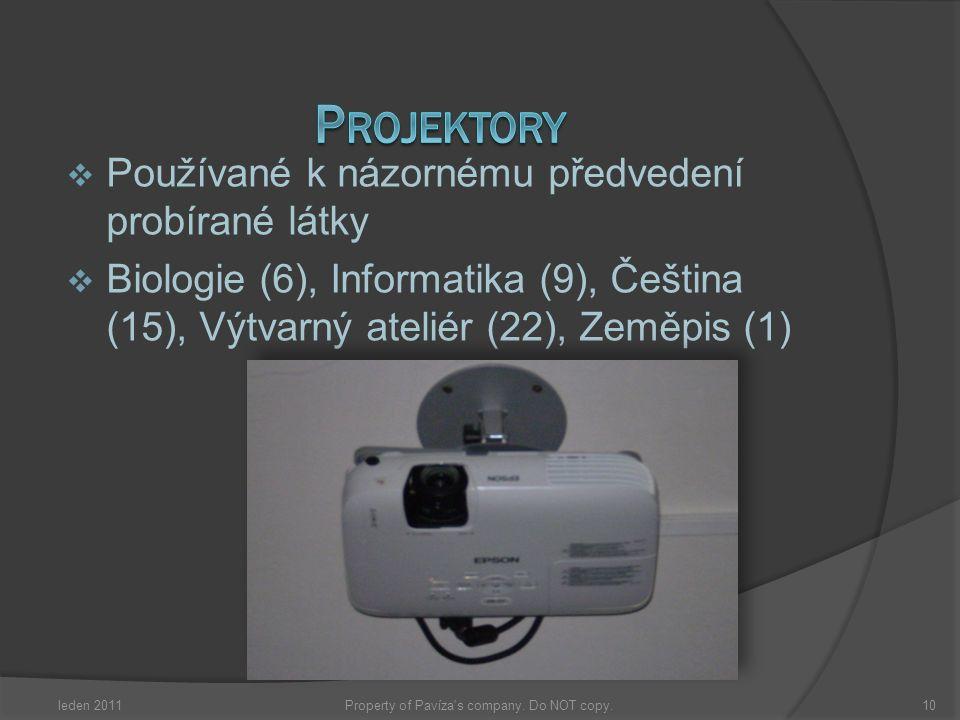  Používané k názornému předvedení probírané látky  Biologie (6), Informatika (9), Čeština (15), Výtvarný ateliér (22), Zeměpis (1) leden 201110Prope