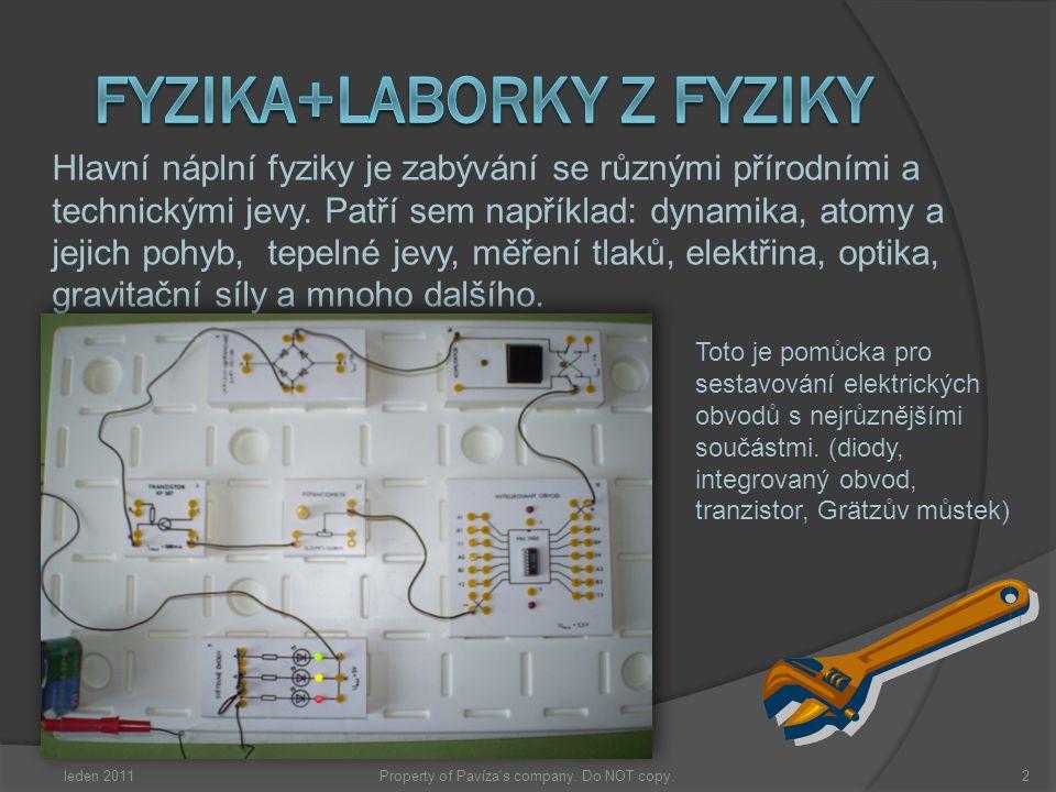 leden 20112Property of Pavíza's company. Do NOT copy. Hlavní náplní fyziky je zabývání se různými přírodními a technickými jevy. Patří sem například: