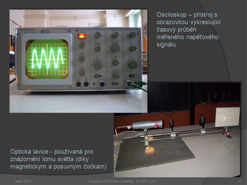 Osciloskop – přístroj s obrazovkou vykreslující časový průběh měřeného napěťového signálu. Optická lavice - používaná pro znázornění lomu světla (díky