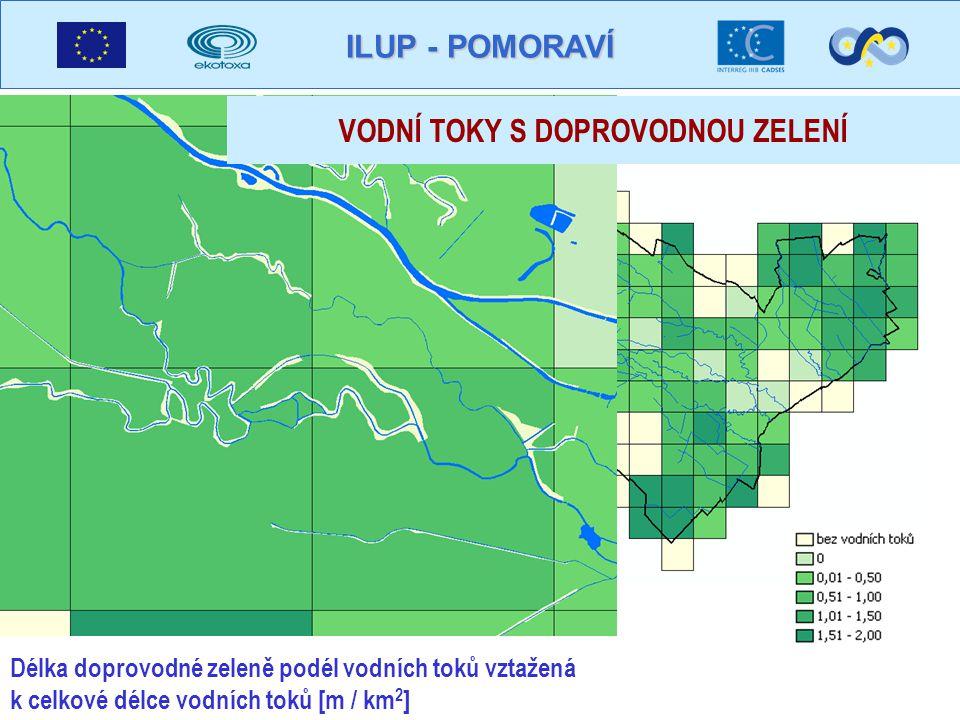 ILUP - POMORAVÍ Délka doprovodné zeleně podél vodních toků vztažená k celkové délce vodních toků [m / km 2 ] VODNÍ TOKY S DOPROVODNOU ZELENÍ