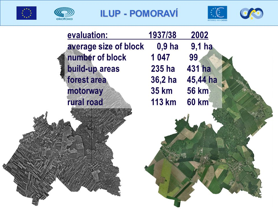 evaluation: 1937/ average size of block 0,9 ha 9,1 ha number of block build-up areas 235 ha 431 ha forest area 36,2 ha 45,44 ha motorway35 km 56 km rural road113 km 60 km