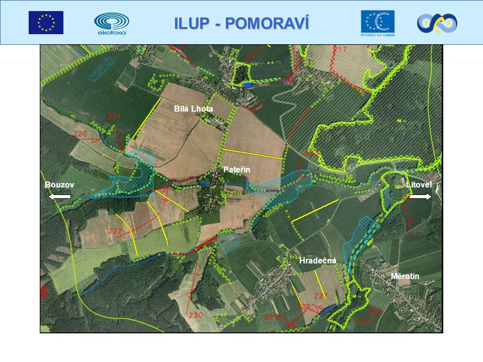 ILUP - POMORAVÍ Plochy vzniklé spojením prvků 300 – les a 420 – rozptýlená zeleň jsou zvýrazněny šrafovaně m / km 2 DÉLKA EKOTONŮ V GRIDU 1X1 KM