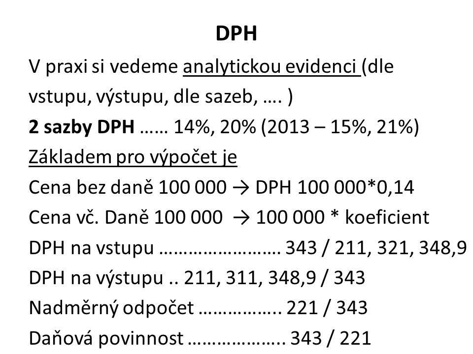 DPH V praxi si vedeme analytickou evidenci (dle vstupu, výstupu, dle sazeb, …. ) 2 sazby DPH …… 14%, 20% (2013 – 15%, 21%) Základem pro výpočet je Cen