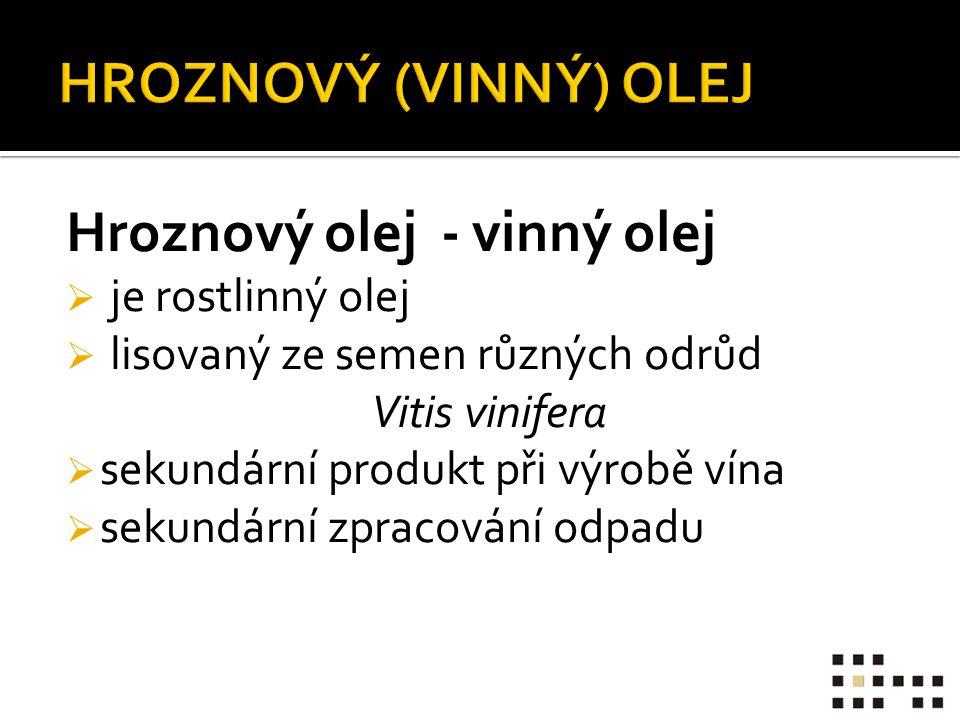 Hroznový olej - vinný olej  je rostlinný olej  lisovaný ze semen různých odrůd Vitis vinifera  sekundární produkt při výrobě vína  sekundární zpracování odpadu