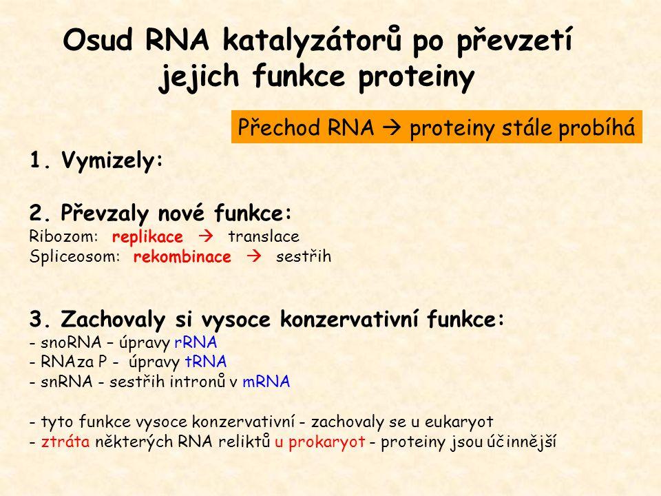 Osud RNA katalyzátorů po převzetí jejich funkce proteiny 1. Vymizely: 2. Převzaly nové funkce: Ribozom: replikace  translace Spliceosom: rekombinace