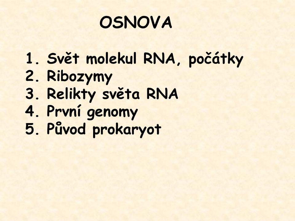 1. Svět molekul RNA, počátky 2. Ribozymy 3. Relikty světa RNA 4. První genomy 5. Původ prokaryot OSNOVA
