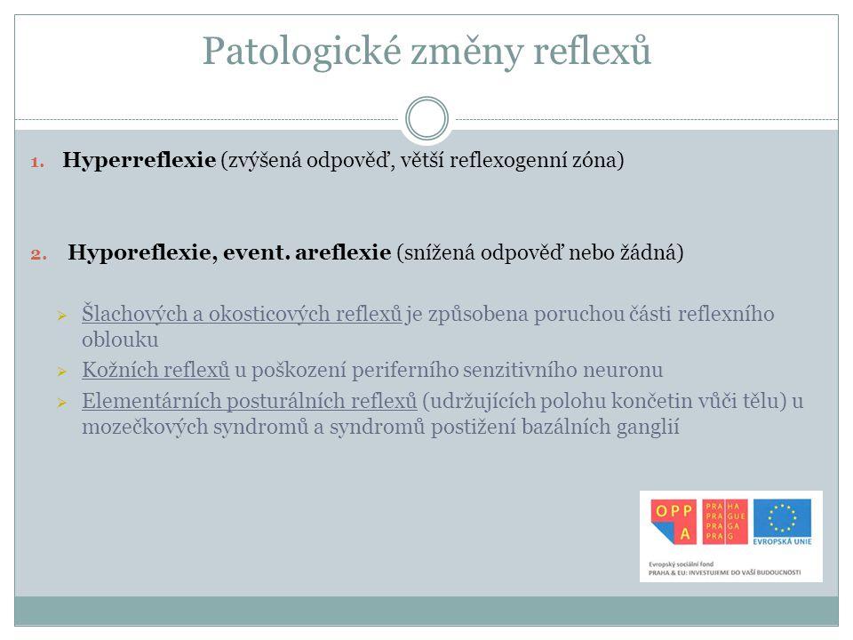 Patologické změny reflexů 1. Hyperreflexie (zvýšená odpověď, větší reflexogenní zóna) 2. Hyporeflexie, event. areflexie (snížená odpověď nebo žádná) 