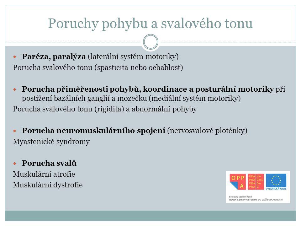 Poruchy pohybu a svalového tonu Paréza, paralýza (laterální systém motoriky) Porucha svalového tonu (spasticita nebo ochablost) Porucha přiměřenosti p