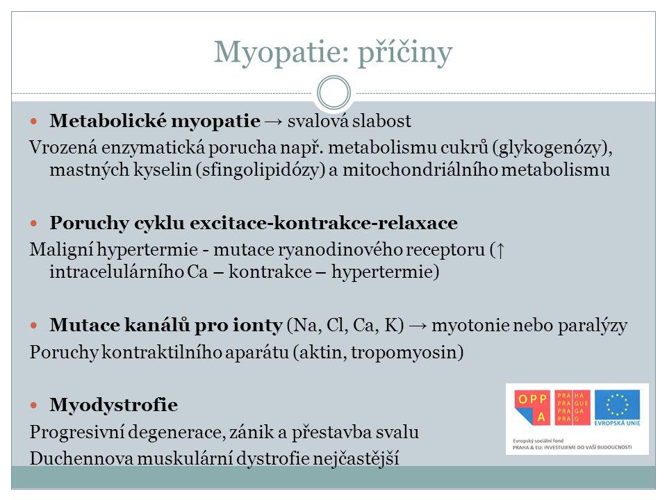 Myopatie: příčiny Metabolické myopatie → svalová slabost Vrozená enzymatická porucha např. metabolismu cukrů (glykogenózy), mastných kyselin (sfingoli