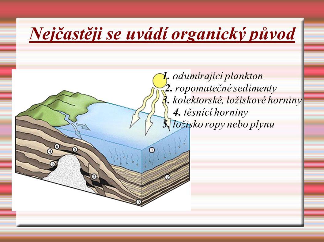 Nejčastěji se uvádí organický původ 1. odumírající plankton 2. ropomatečné sedimenty 3. kolektorské, ložiskové horniny 4. těsnící horniny 5. ložisko r