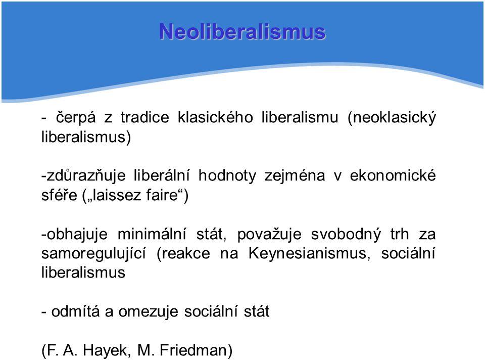 """Neoliberalismus - čerpá z tradice klasického liberalismu (neoklasický liberalismus) -zdůrazňuje liberální hodnoty zejména v ekonomické sféře (""""laissez faire ) -obhajuje minimální stát, považuje svobodný trh za samoregulující (reakce na Keynesianismus, sociální liberalismus - odmítá a omezuje sociální stát (F."""