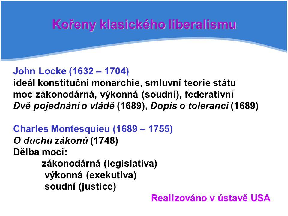 Základní lidská práva John Locke: Právo na život, svobodu, majetek (life, liberty, property) Thomas Jefferson: Právo na život, svobodu a sledování štěstí (life, liberty, pursuit of happines)