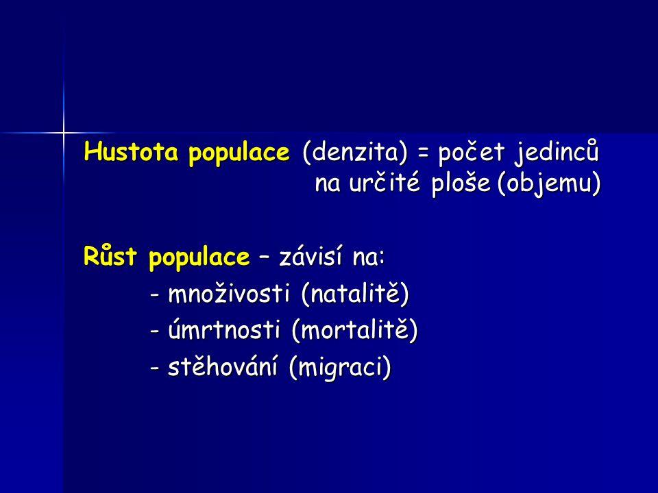 Hustota populace (denzita) = počet jedinců na určité ploše (objemu) Růst populace – závisí na: - množivosti (natalitě) - úmrtnosti (mortalitě) - stěho