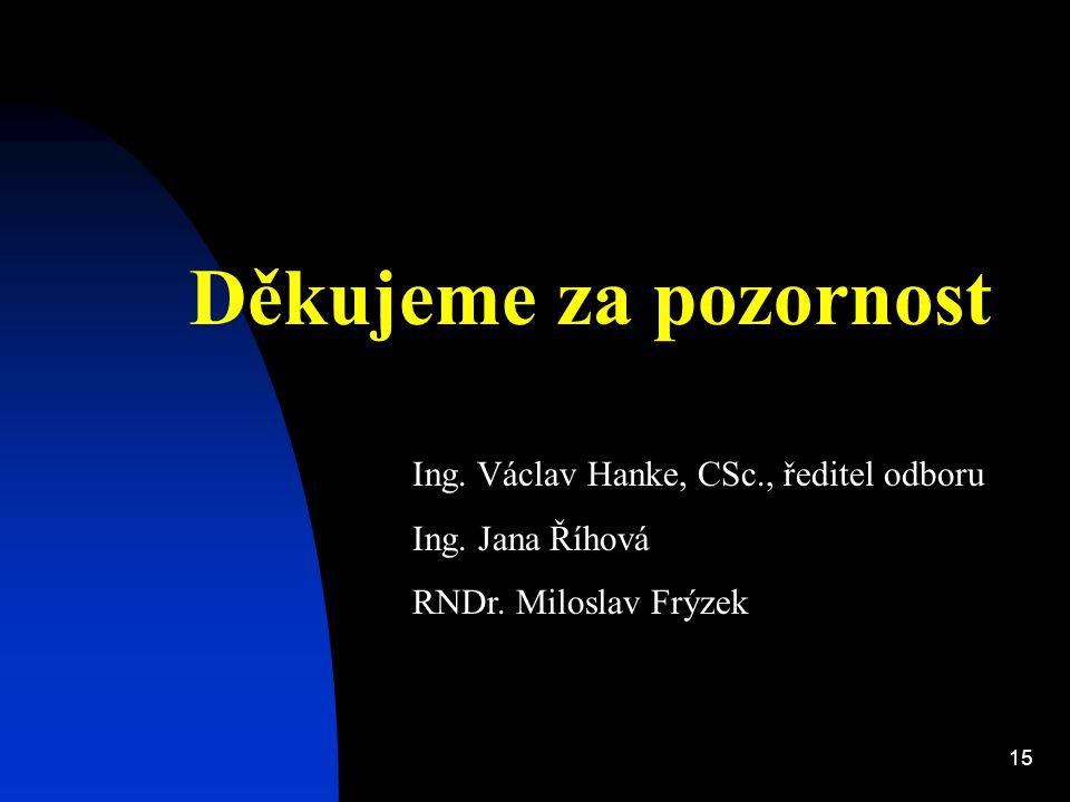 15 Děkujeme za pozornost Ing. Václav Hanke, CSc., ředitel odboru Ing.