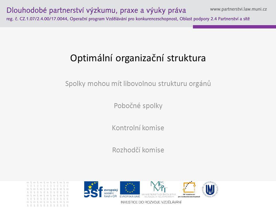 Optimální organizační struktura Spolky mohou mít libovolnou strukturu orgánů Pobočné spolky Kontrolní komise Rozhodčí komise