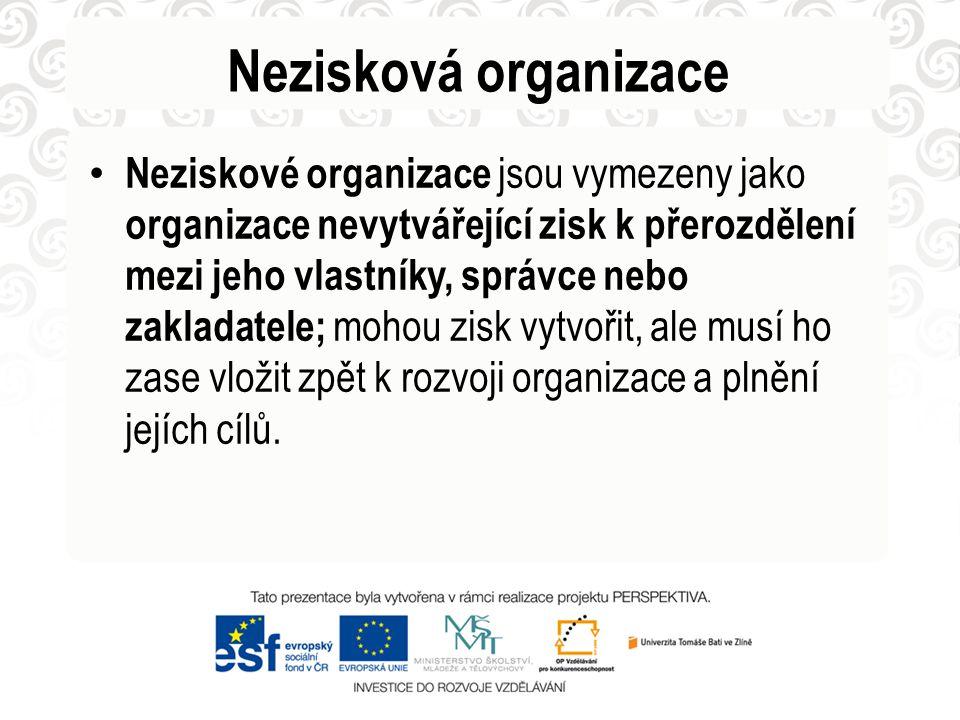 Nezisková organizace Neziskové organizace jsou vymezeny jako organizace nevytvářející zisk k přerozdělení mezi jeho vlastníky, správce nebo zakladatel