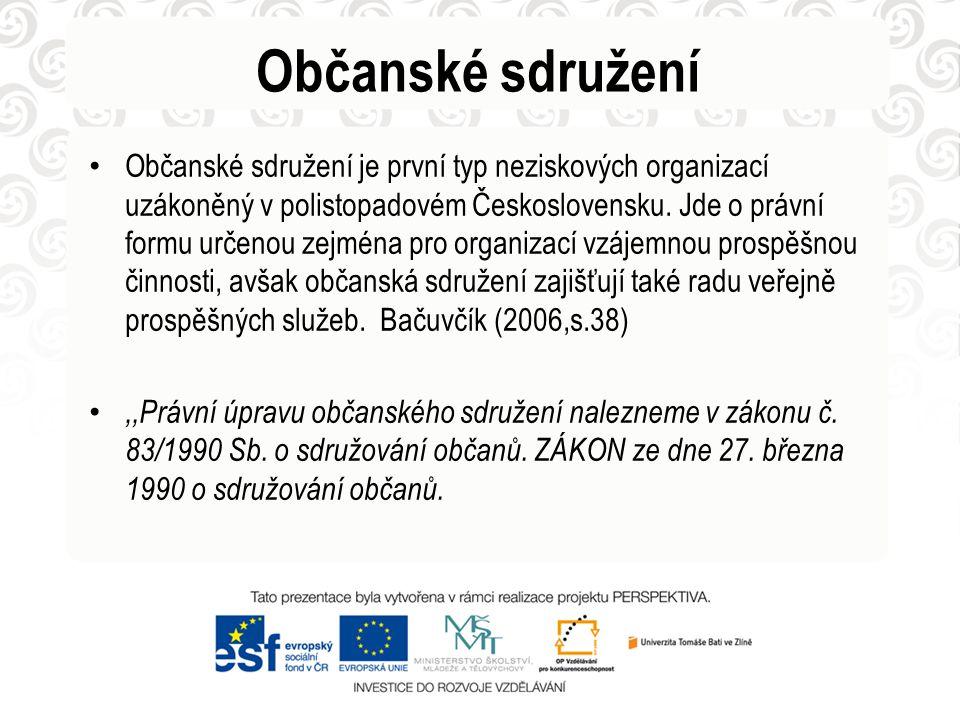 Občanské sdružení Občanské sdružení je první typ neziskových organizací uzákoněný v polistopadovém Československu. Jde o právní formu určenou zejména