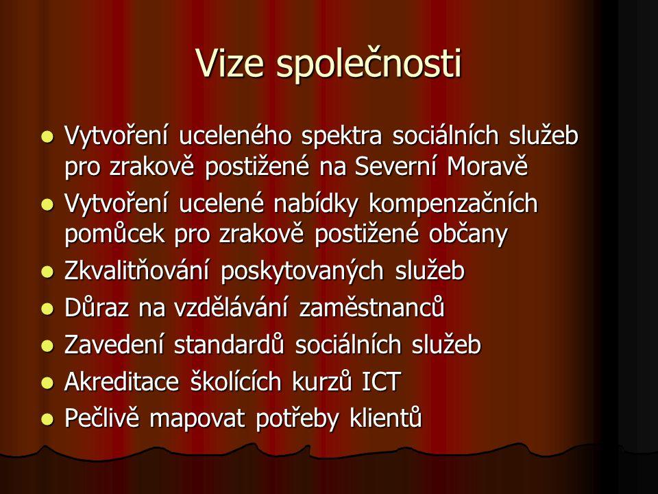 Vize společnosti Vytvoření uceleného spektra sociálních služeb pro zrakově postižené na Severní Moravě Vytvoření uceleného spektra sociálních služeb p