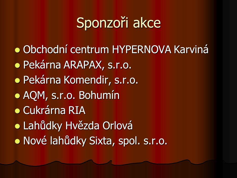 Sponzoři akce Obchodní centrum HYPERNOVA Karviná Obchodní centrum HYPERNOVA Karviná Pekárna ARAPAX, s.r.o. Pekárna ARAPAX, s.r.o. Pekárna Komendir, s.