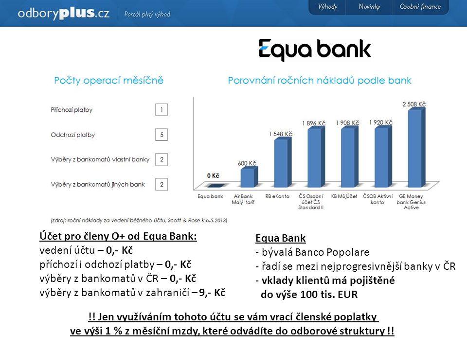 Účet pro členy O+ od Equa Bank: vedení účtu – 0,- Kč příchozí i odchozí platby – 0,- Kč výběry z bankomatů v ČR – 0,- Kč výběry z bankomatů v zahraničí – 9,- Kč Equa Bank - bývalá Banco Popolare - řadí se mezi nejprogresivnější banky v ČR - vklady klientů má pojištěné do výše 100 tis.