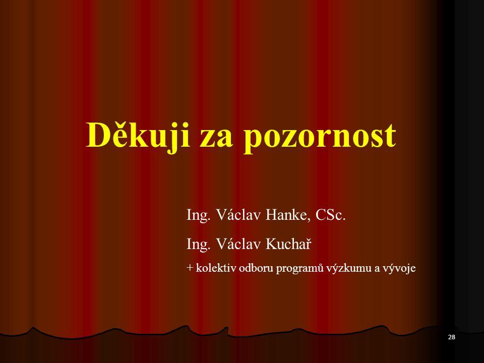 28 Děkuji za pozornost Ing. Václav Hanke, CSc. Ing.