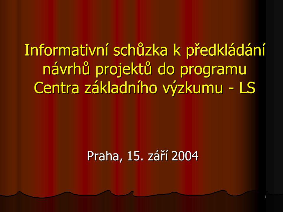 12 Vyhlašované programy Národní program výzkumu (I) Podpora začínajících pracovníků výzkumu (program 1K ) Podpora začínajících pracovníků výzkumu (program 1K ) Informační infrastruktura výzkumu (program 1N) Informační infrastruktura výzkumu (program 1N) Výzkumná centra (program 1M) Výzkumná centra (program 1M) Programy mezinárodní spolupráce (program 1P) Programy mezinárodní spolupráce (program 1P) Resortní programy Program Centra základního výzkumu (program LC) Program Centra základního výzkumu (program LC) Výzkum pro státní správu (program LS) Výzkum pro státní správu (program LS)