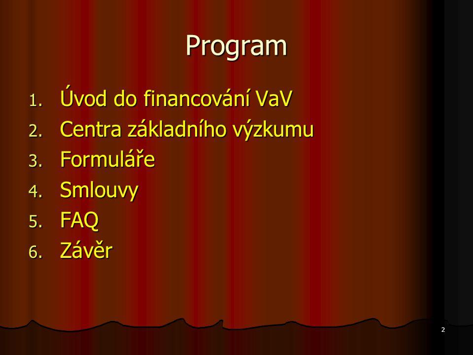 2 Program 1. Úvod do financování VaV 2. Centra základního výzkumu 3. Formuláře 4. Smlouvy 5. FAQ 6. Závěr