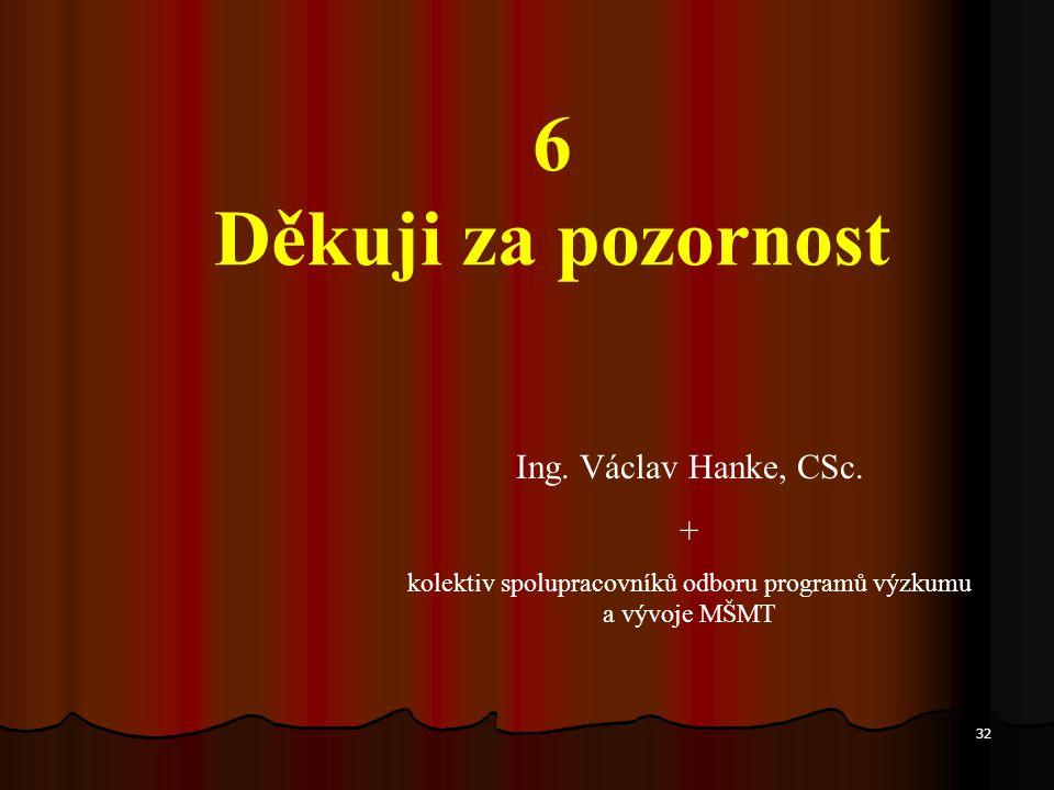 32 6 Děkuji za pozornost Ing. Václav Hanke, CSc. + kolektiv spolupracovníků odboru programů výzkumu a vývoje MŠMT